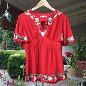 Nanette Lepore silk embroidered blouse
